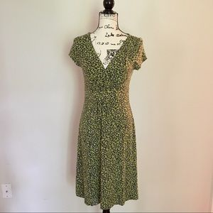 Boden wrap-front stretchy knit dress. Green